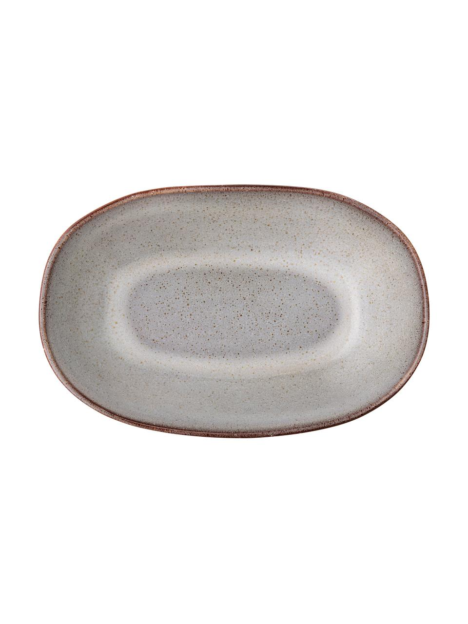 Ręcznie wykonana miska do serwowania z kamionki Sandrine, Kamionka, Odcienie beżowego, S 26 x W 7 cm