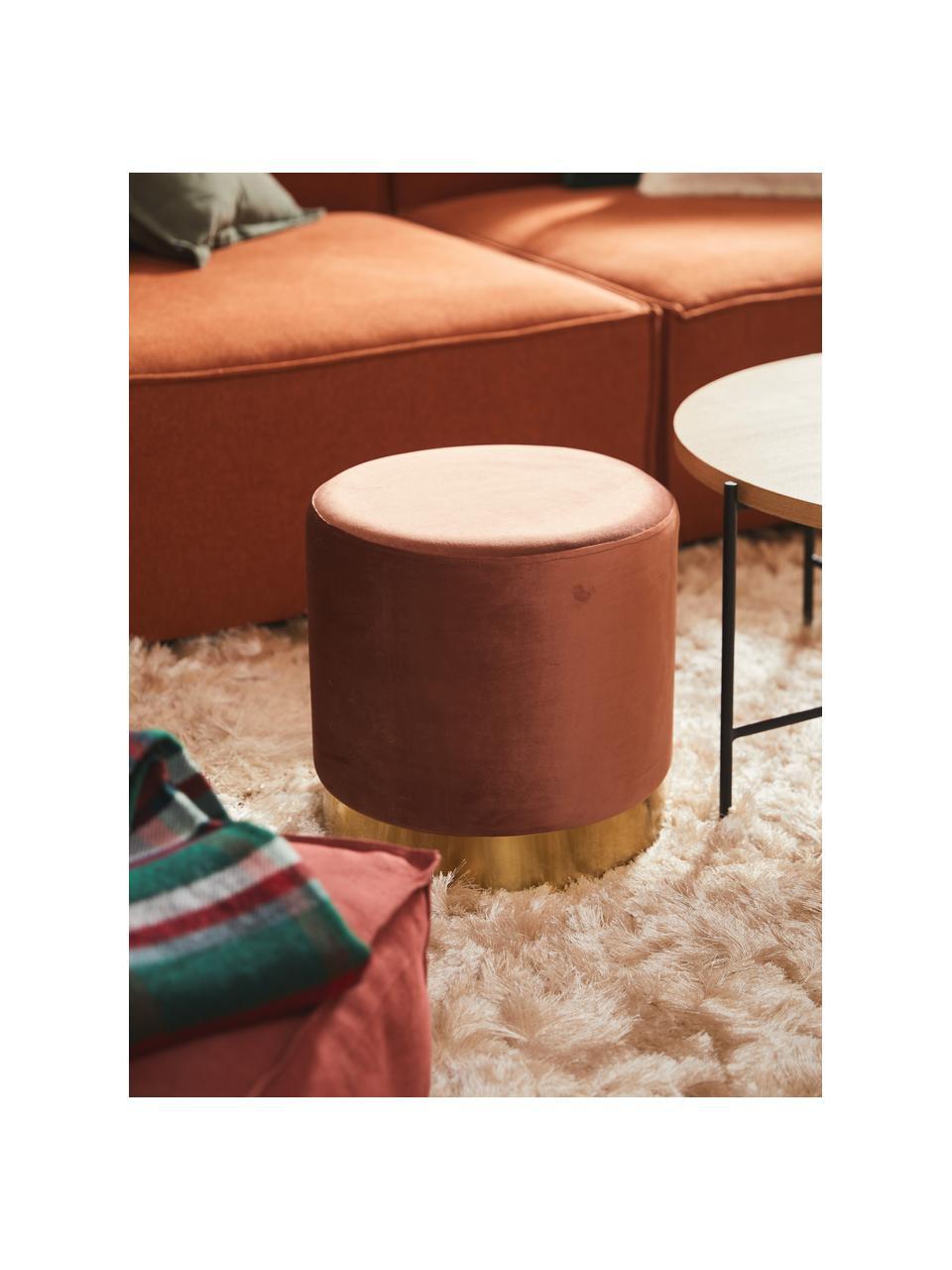 Pouf in velluto marrone Orchid, Rivestimento: velluto (100% poliestere), Struttura: compensato, Velluto marrone, dorato, Ø 38 x Alt. 38 cm