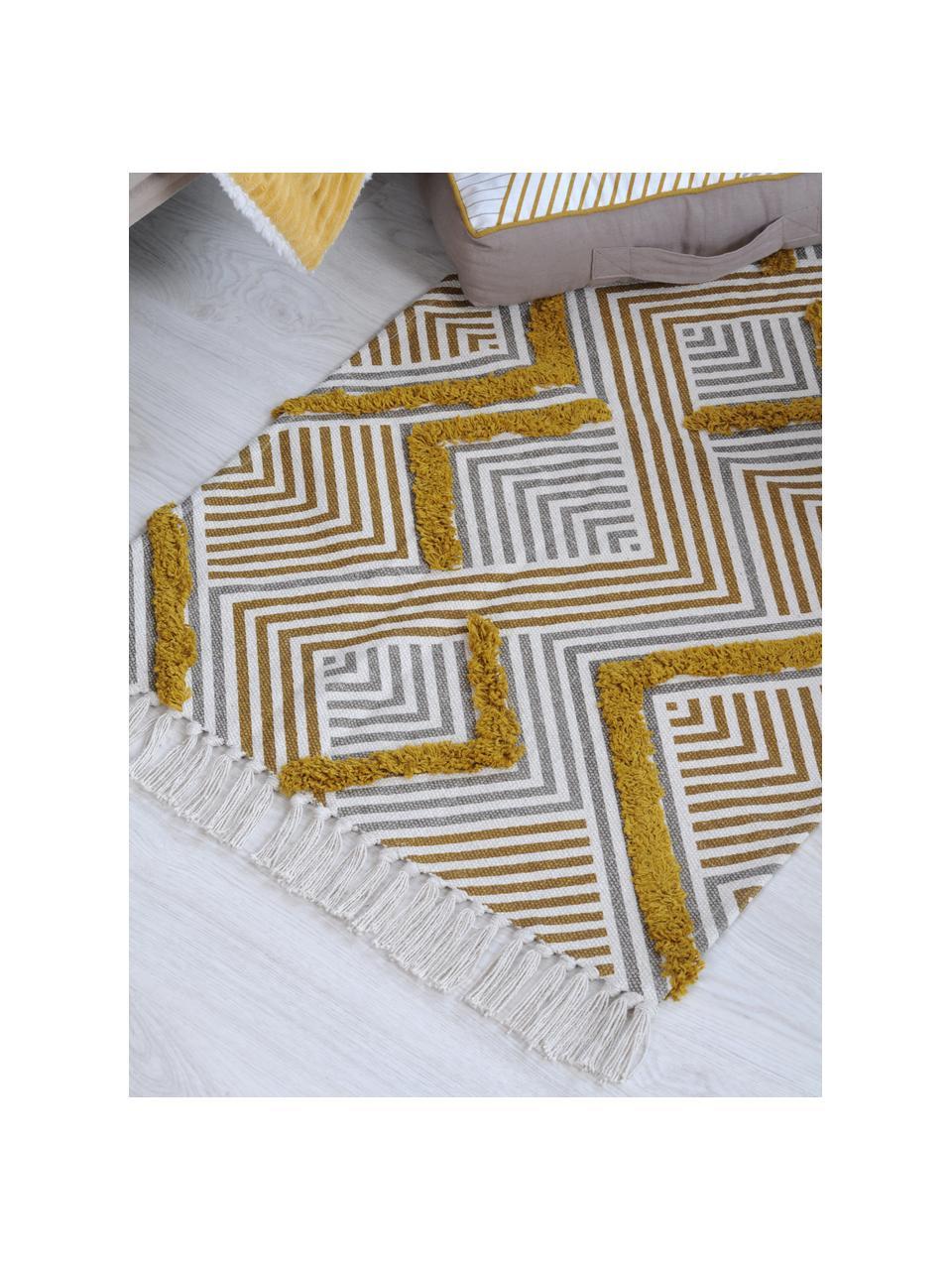 Kleiner Ethno Teppich Chicago mit Hoch-Tief-Struktur und Fransen, 100% Baumwolle, Senfgelb, Beige, Cremefarben, B 60 x L 90 cm (Größe XXS)