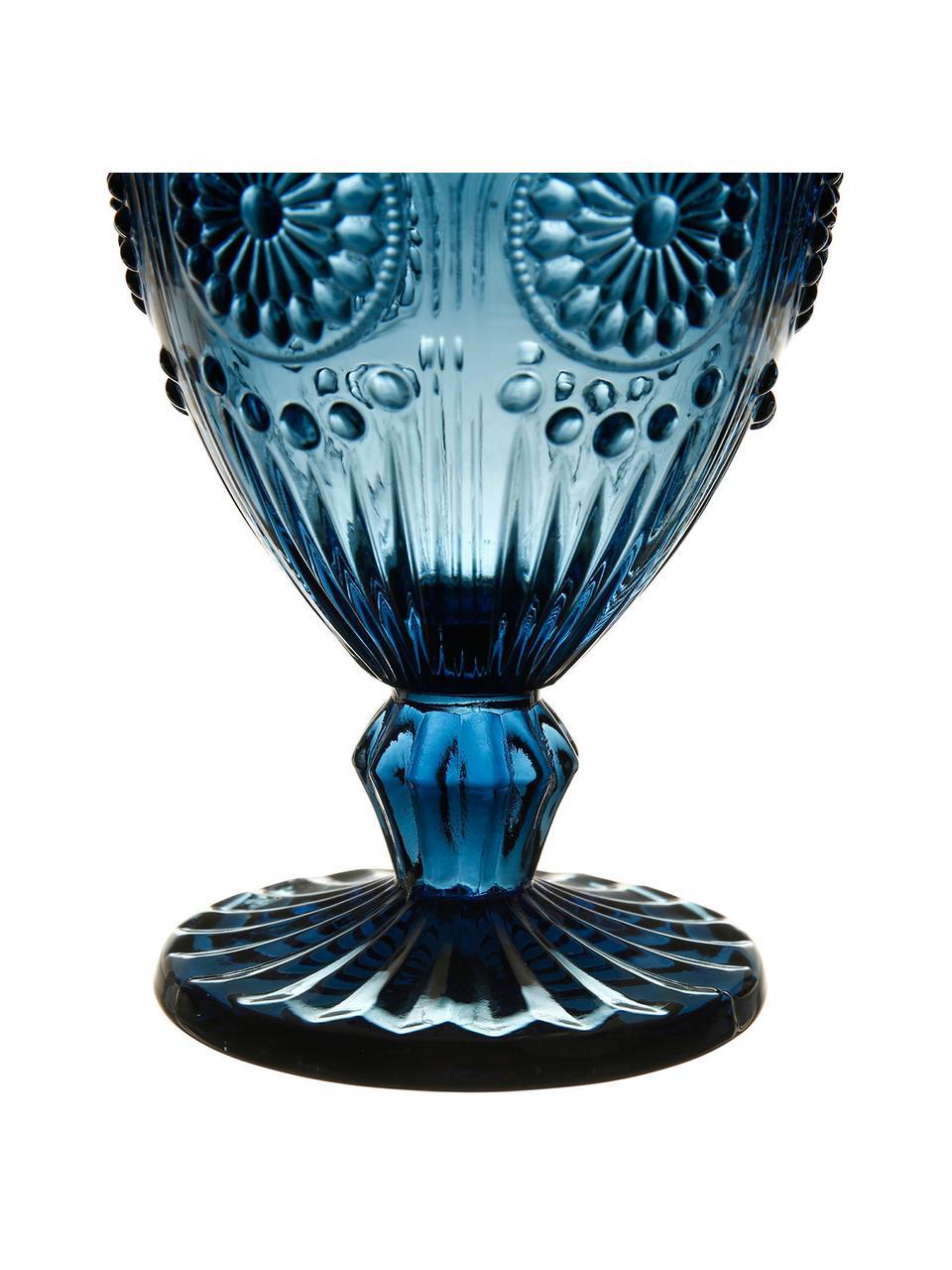 Copas de vino con relieves Chambord, 6uds., Vidrio, Azul, Ø 9 x Al 14 cm