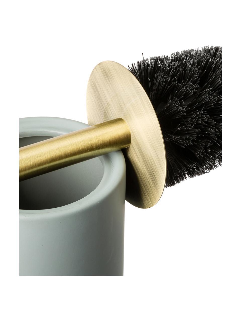 Toilettenbürste Lotus mit Keramik-Behälter, Behälter: Keramik, Griff: Metall, Grün, Messingfarben, Schwarz, Ø 10 x H 21 cm