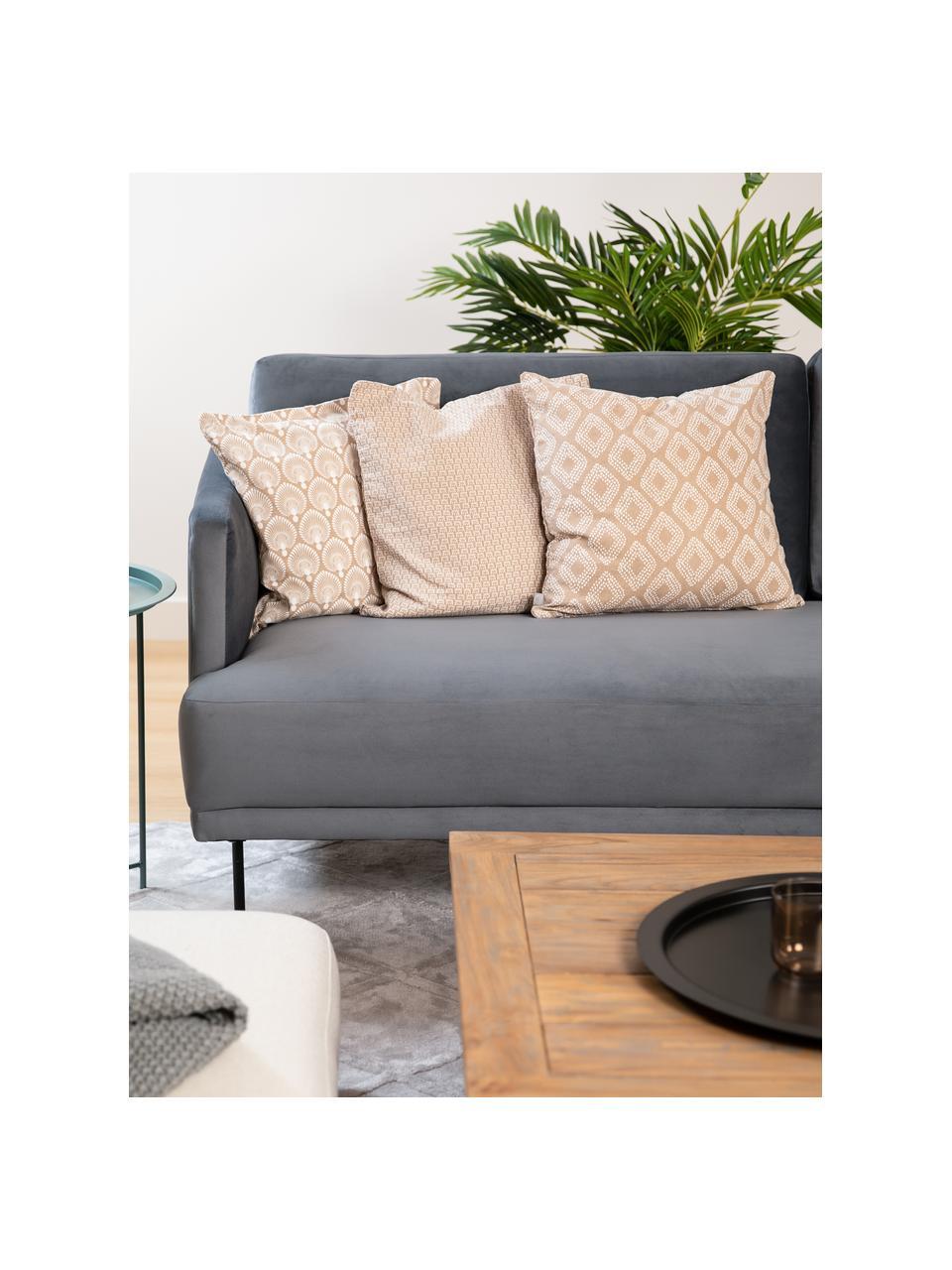 Komplet poszewek na poduszkę Cousin, 3 elem., 100% bawełna, Beżowy, biały, S 45 x D 45 cm