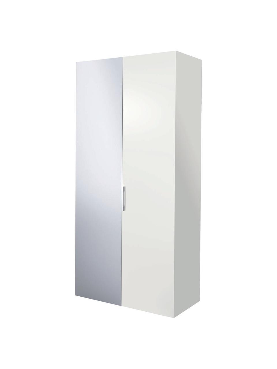 Kleiderschrank Madison 2-türig mit Spiegeltür, inkl. Montageservice, Korpus: Holzwerkstoffplatten, lac, Weiß, Mit Spiegeltür, 102 x 230 cm