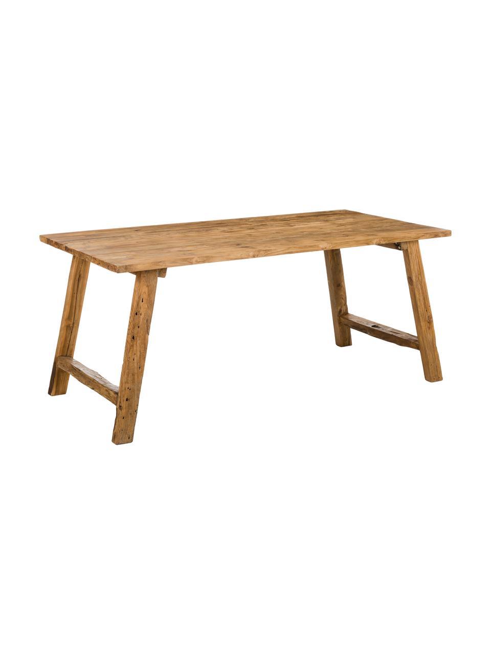 Stół do jadalni z drewna tekowego z recyklingu Lawas, Naturalne drewno tekowe, Drewno tekowe, S 220 x G 100 cm
