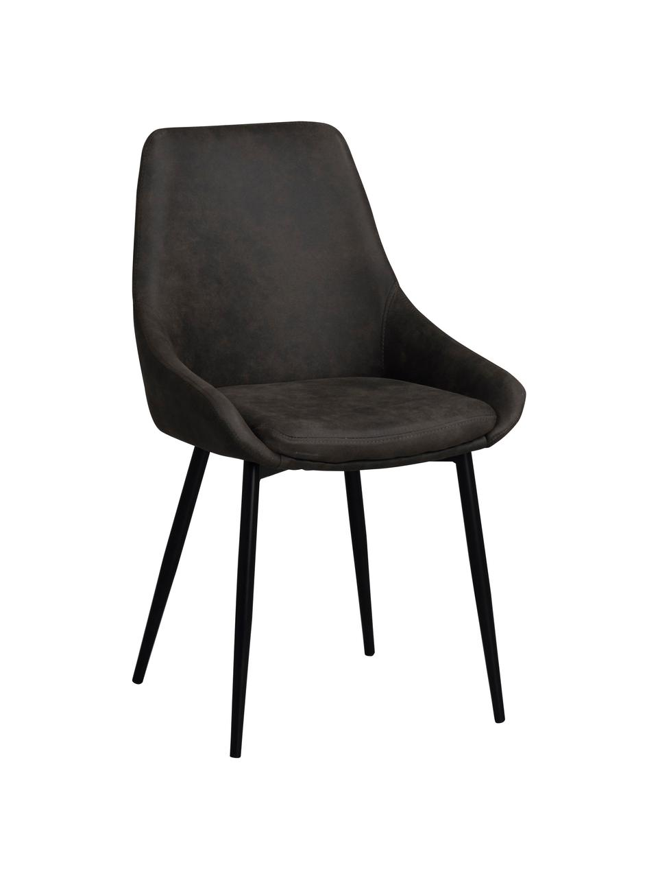 Krzesło tapicerowane ze sztucznej skóry Sierra, 2 szt., Tapicerka: poliester imitujący zamsz, Nogi: metal lakierowany, Ciemny szary, nogi: czarny, S 49 x G 55 cm