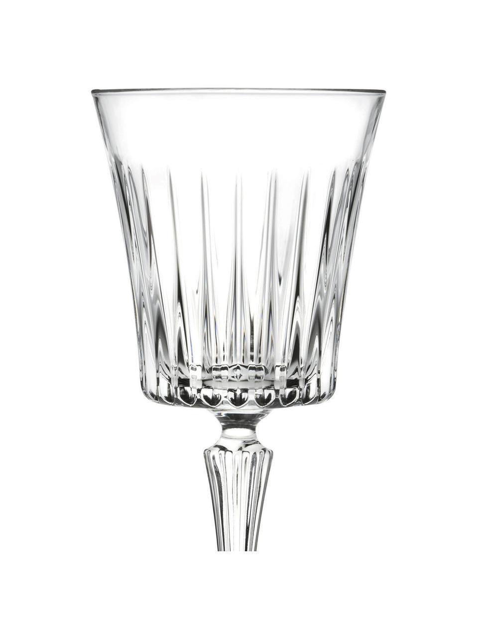 Kristall-Weißweingläser Timeless mit Rillenrelief, 6 Stück, Luxion-Kristallglas, Transparent, Ø 8 x H 20 cm