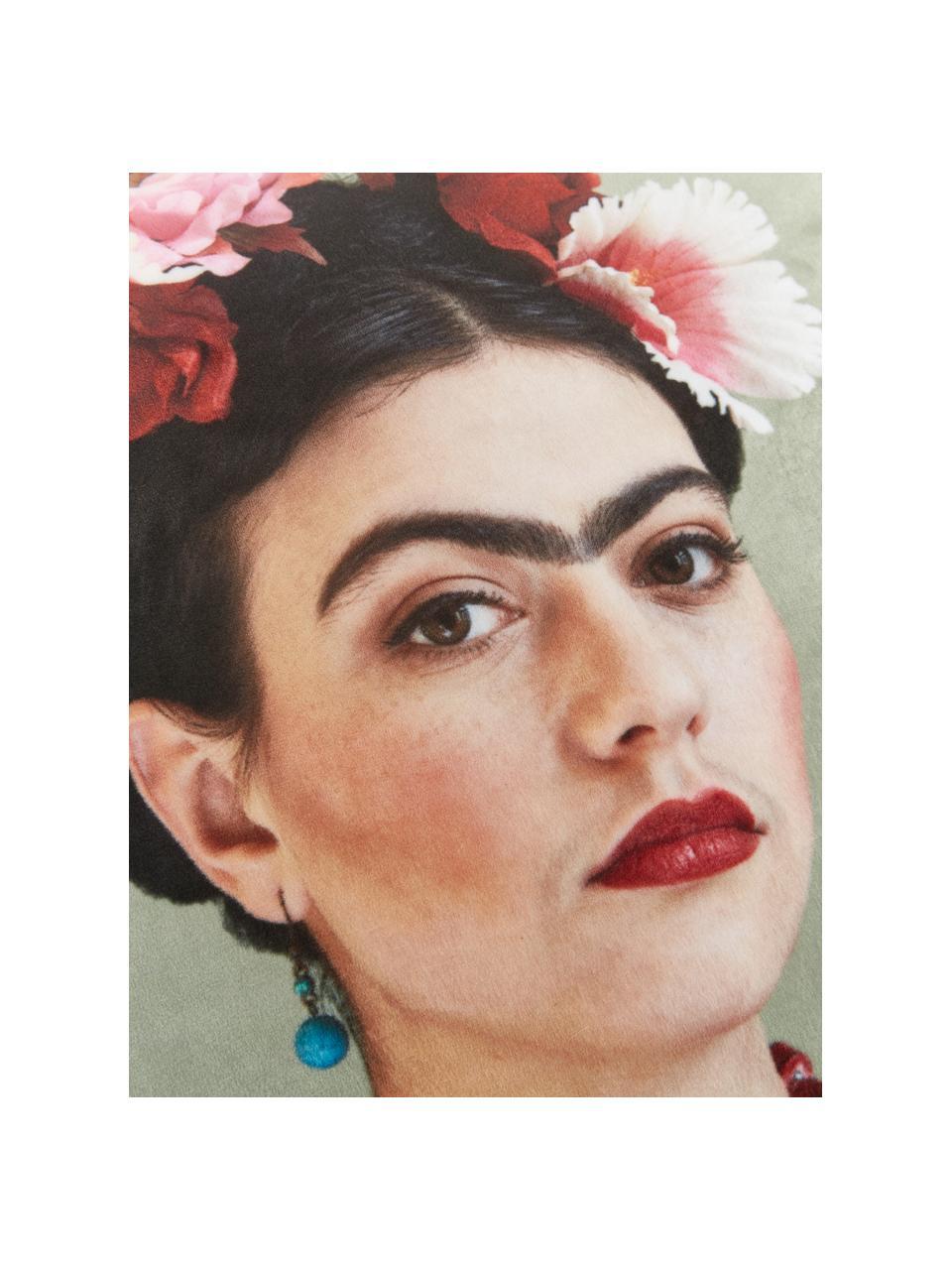 Fluwelen kussenhoes Rosanna, 100% polyester fluweel, Mintgroen, 45 x 45 cm