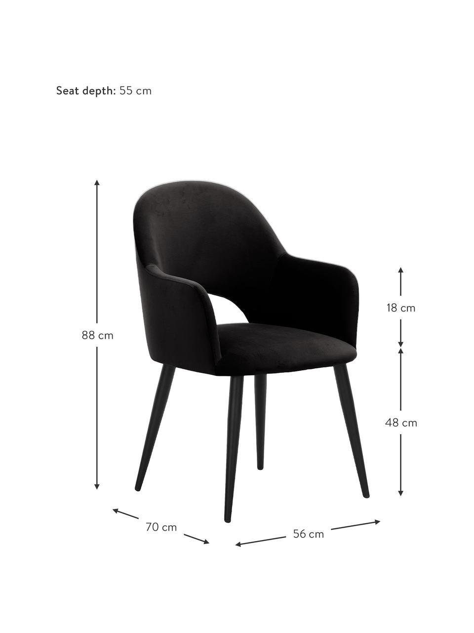 Samt-Armlehnstuhl Rachel in Schwarz, Bezug: Samt (Polyester) Der hoch, Beine: Metall, pulverbeschichtet, Samt Schwarz, B 56 x T 70 cm