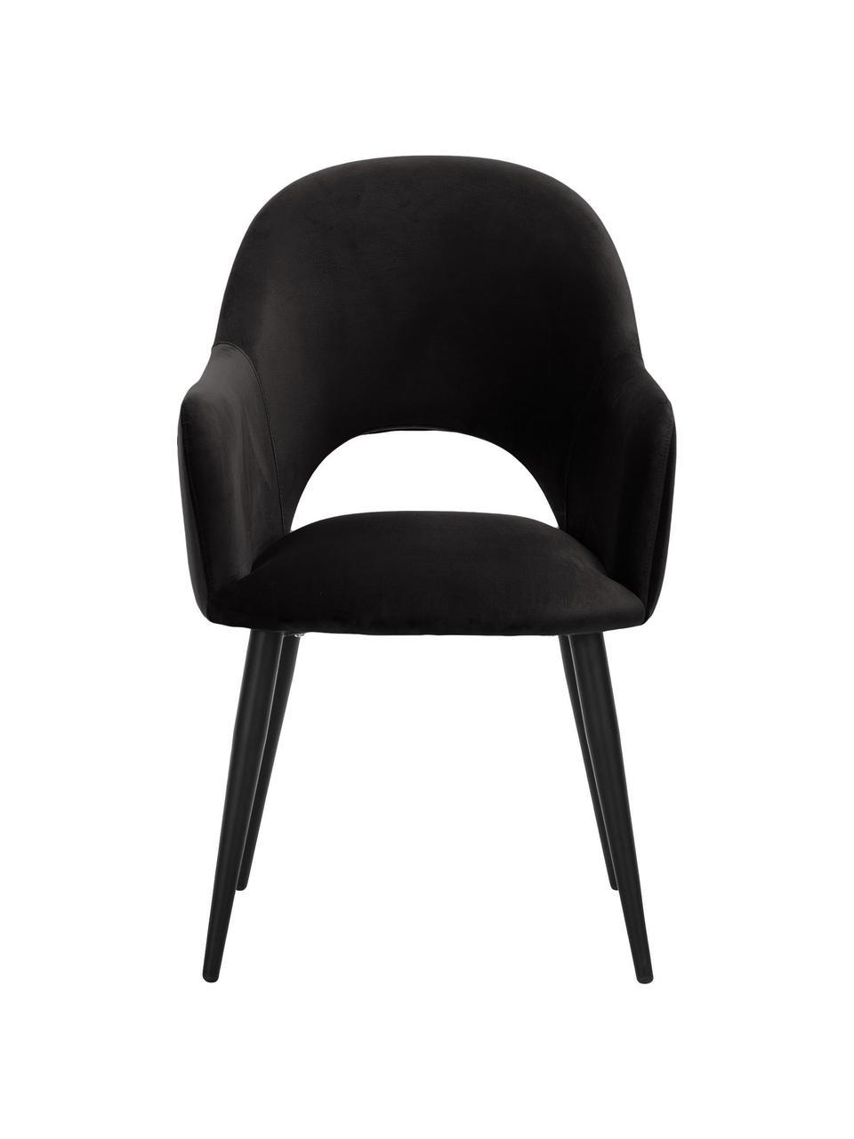 Krzesło z podłokietnikami z aksamitu Rachel, Tapicerka: aksamit (poliester) Dzięk, Nogi: metal malowany proszkowo, Czarny, S 56 x G 70 cm