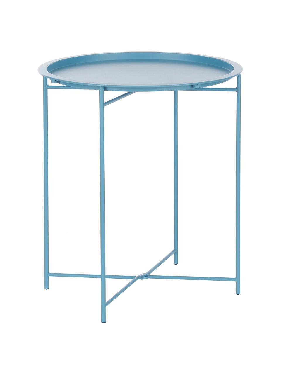 Stolik-taca z metalu Sangro, Stal lakierowana, Niebieski, Ø 46 x W 52 cm