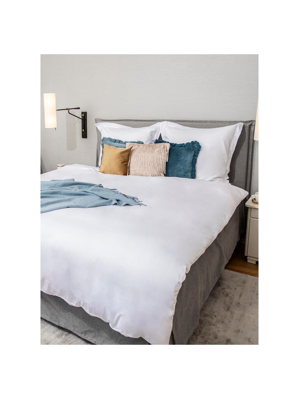 Saténové povlečení z organické bavlny s lemováním Premium, Bílá