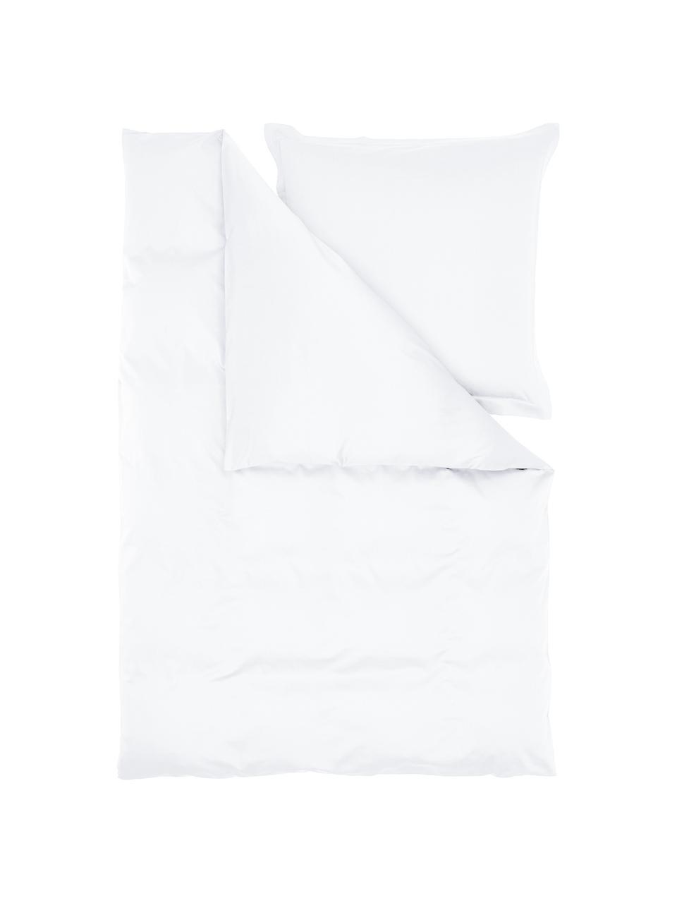 Satin-Bettwäsche Premium aus Bio-Baumwolle in Weiß mit Stehsaum, Webart: Satin Fadendichte 400 TC,, Weiß, 135 x 200 cm + 1 Kissen 80 x 80 cm