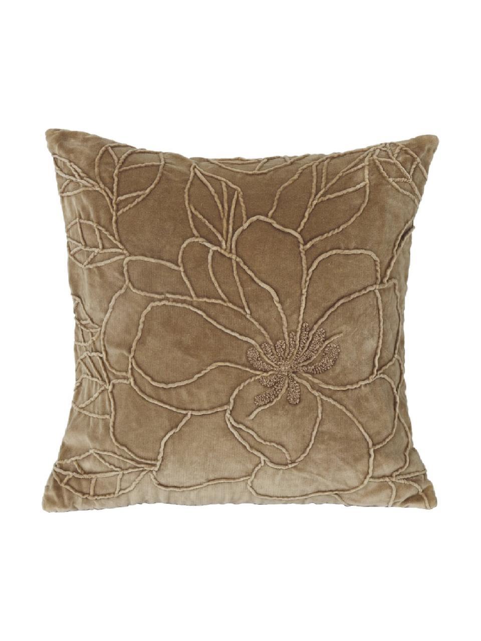 Poduszka z aksamitu z wypełnieniem Flower, Tapicerka: aksamit poliestrowy, Brązowy, S 45 x D 45 cm