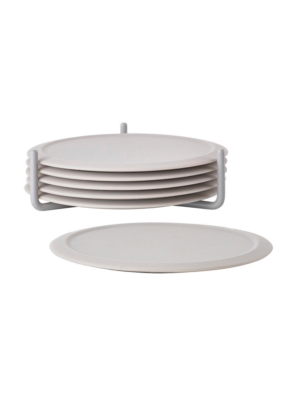 Silikon-Untersetzer Plain mit Halterung, 6 Stück, Untersetzer: Rutschfestes Silikon, Halterung: Metall, Gebrochenes Weiß, Ø 10 cm