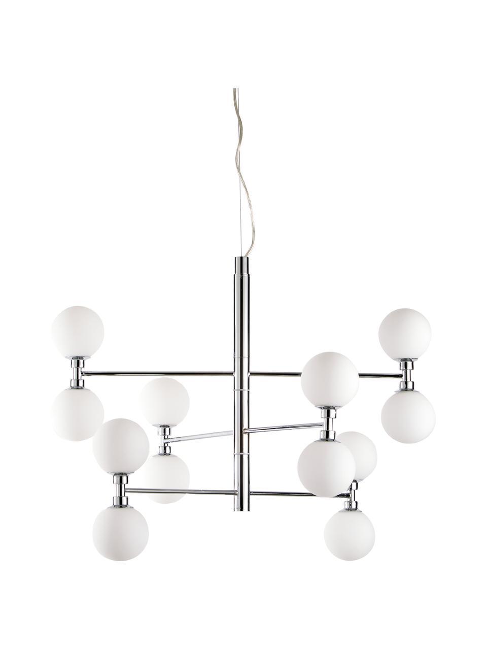 Lampada a sospensione con sfere in vetro Grover, Baldacchino: metallo cromato, Paralume: vetro opale, Cromo, Ø 70 x Alt. 56 cm