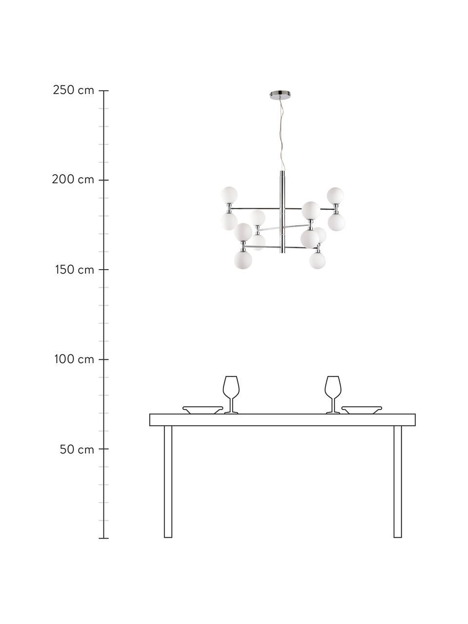Grote hanglamp Grover met glazen bollen in zilverkleur, Baldakijn: verchroomd metaal, Chroomkleurig, Ø 70  x H 56 cm