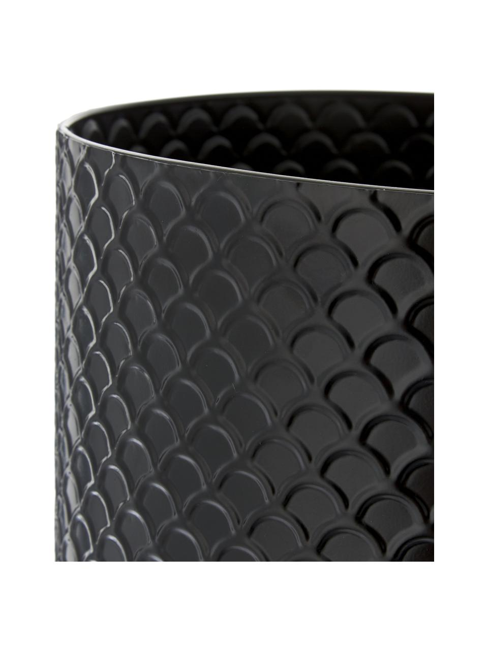 Osłonka na doniczkę XL z metalu Indian, Metal powlekany, Czarny, Ø 32 x W 60 cm
