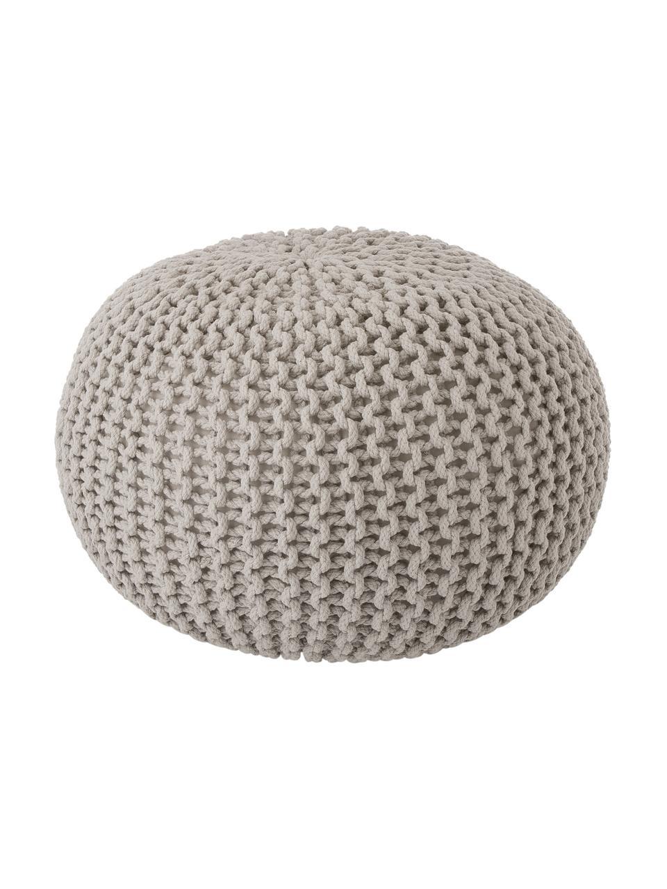 Pouf a maglia fatto a mano Dori, Rivestimento: 100% cotone, Taupe, Ø 55 x Alt. 35 cm