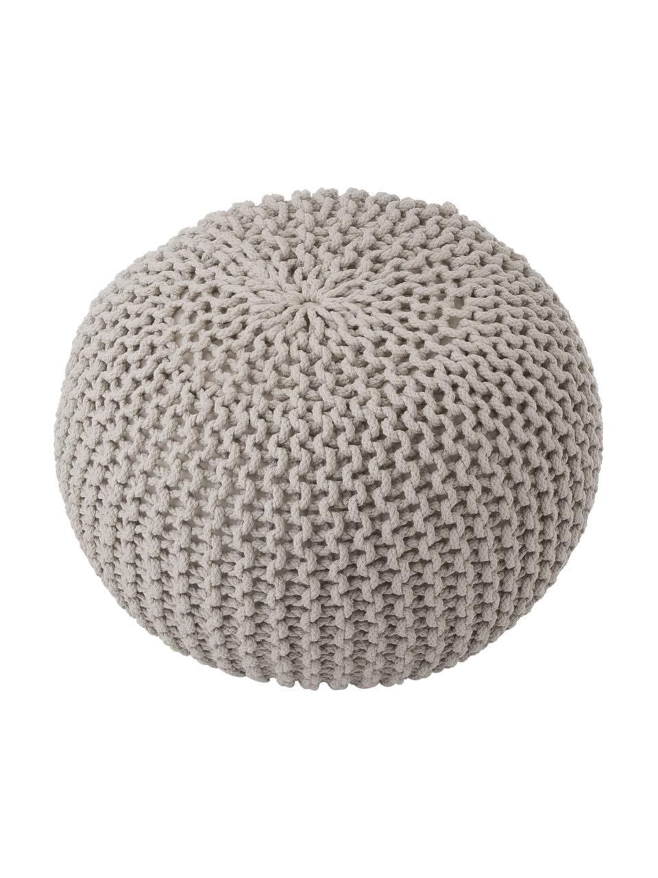 Handgemaakte poef Dori, Bekleding: 100% katoen, Taupe, Ø 55 x H 35 cm