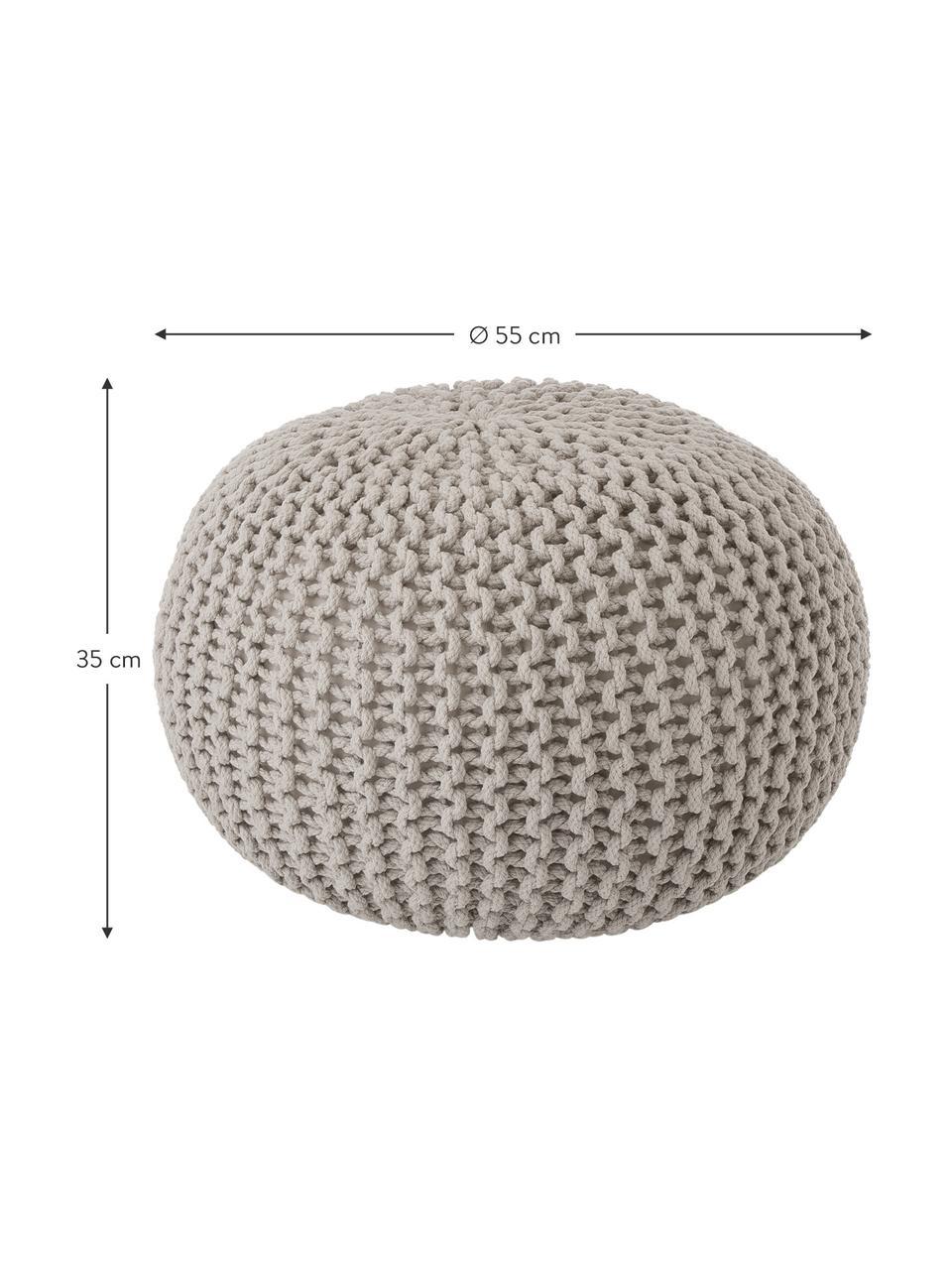 Ręcznie wykonany puf z dzianiny Dori, Tapicerka: 100% bawełna, Taupe, Ø 55 x W 35 cm