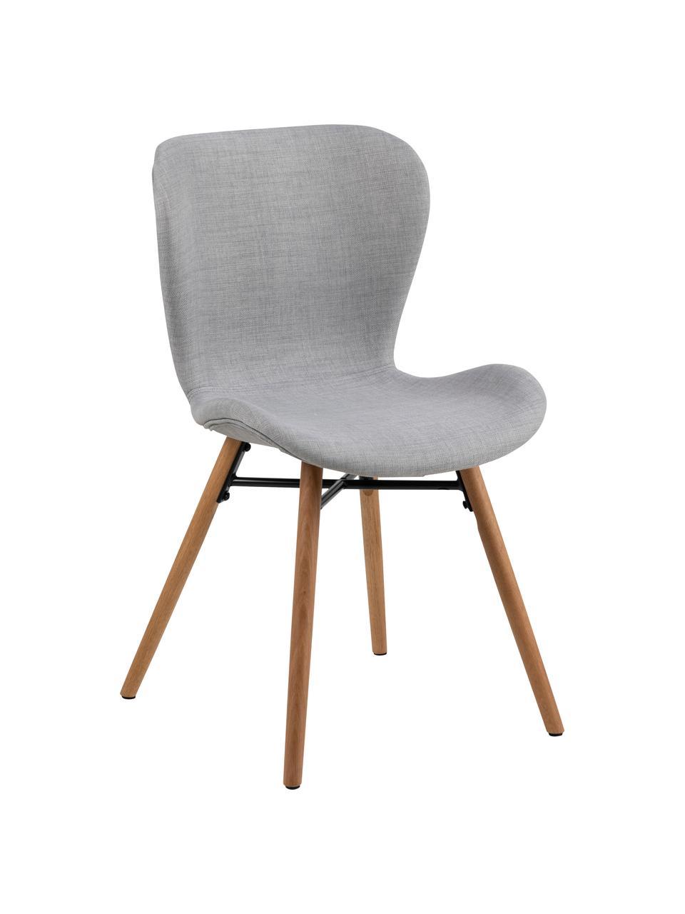 Krzesło tapicerowane Batilda, 2 szt., Tapicerka: poliester Dzięki tkaninie, Nogi: lite drewno dębowe, lakie, Jasny szary, S 56 x G 47 cm