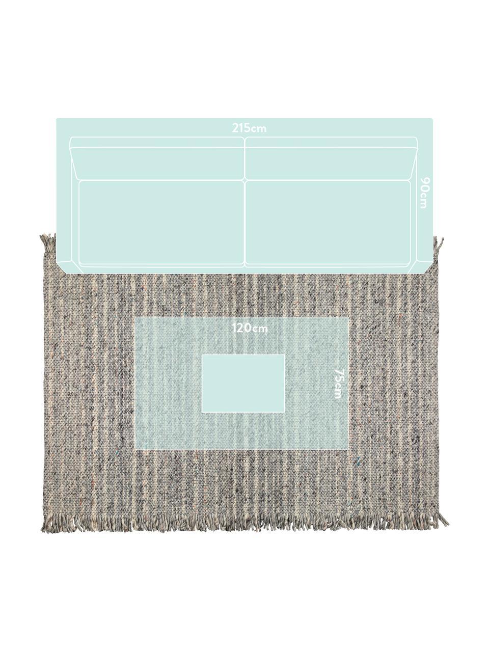 Vlněný koberec s třásněmi Frills, 170 x 240 cm, Odstíny šedé, béžová
