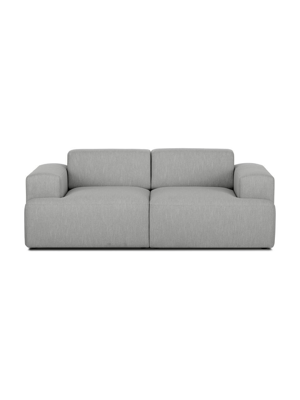 Sofa Melva (2-Sitzer) in Grau, Bezug: Polyester Der hochwertige, Gestell: Massives Kiefernholz, Spa, Füße: Kiefernholz Die Füße befi, Webstoff Grau, B 200 x T 101 cm
