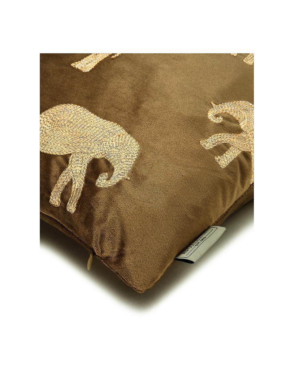 Goudkleurig geborduurd fluwelen kussen Elephant in bruin, met vulling, 100% fluweel (polyester), Bruin, goudkleurig, 45 x 45 cm