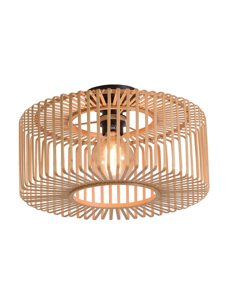 Plafondlamp Bromo van bamboehout, Lampenkap: bamboe, Baldakijn: gecoat metaal, Beige, zwart, Ø 40 x H 18 cm