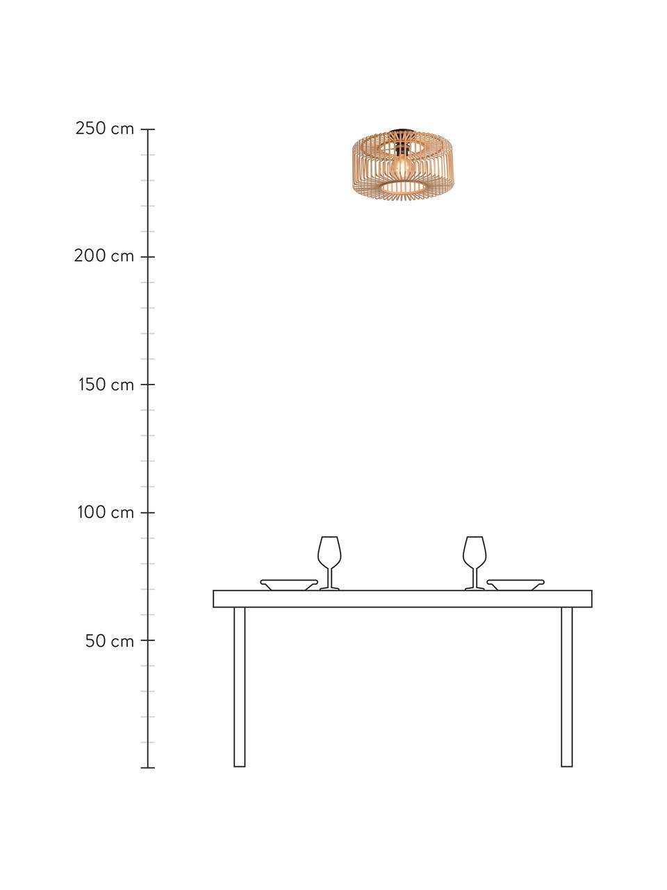 Deckenleuchte Bromo aus Bambus, Lampenschirm: Bambus, Baldachin: Metall, beschichtet, Beige, Schwarz, Ø 40 x H 18 cm