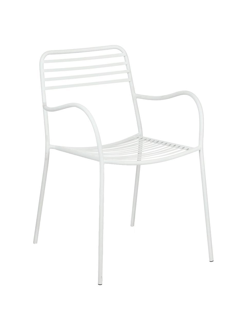 Kovová balkonová židle spodručkami Tula, 2 ks, Bílá