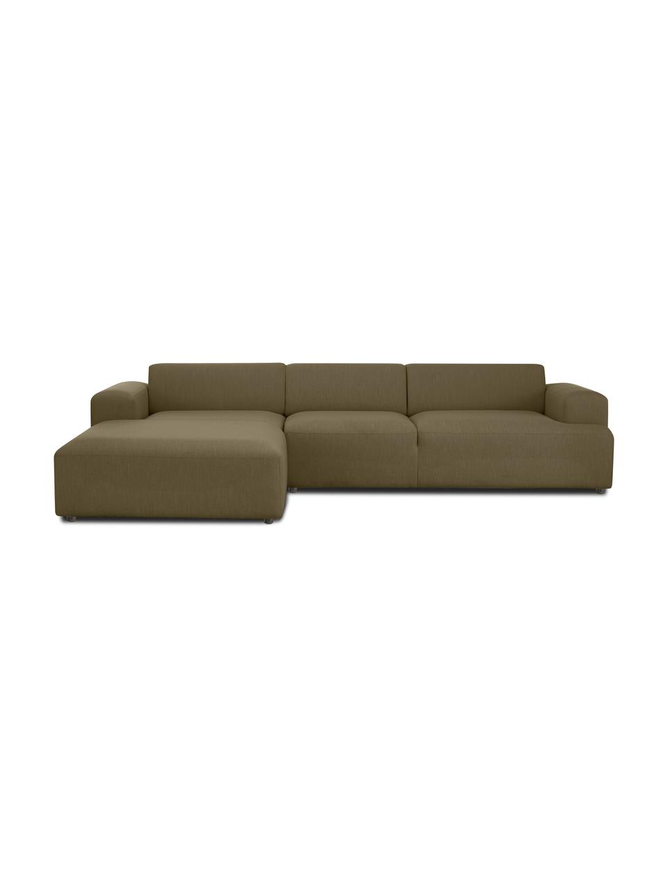 Ecksofa Melva (4-Sitzer) in Olivgrün, Bezug: 100% Polyester Der hochwe, Gestell: Massives Kiefernholz, FSC, Füße: Kunststoff, Webstoff Olivgrün, B 319 x T 196 cm