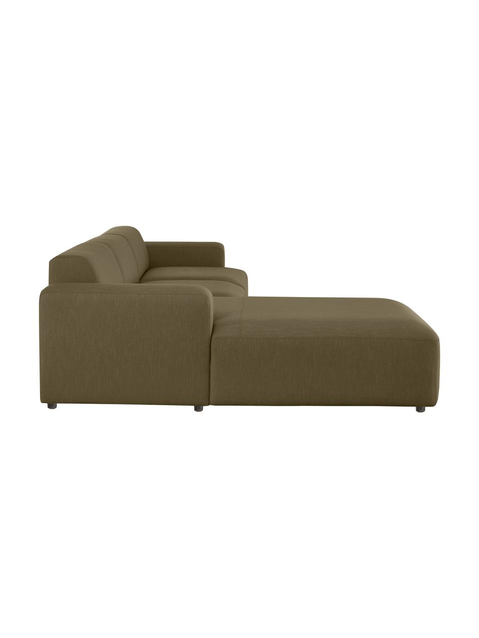 Canapé d'angle 4 places vert olive Melva, Tissu vert olive