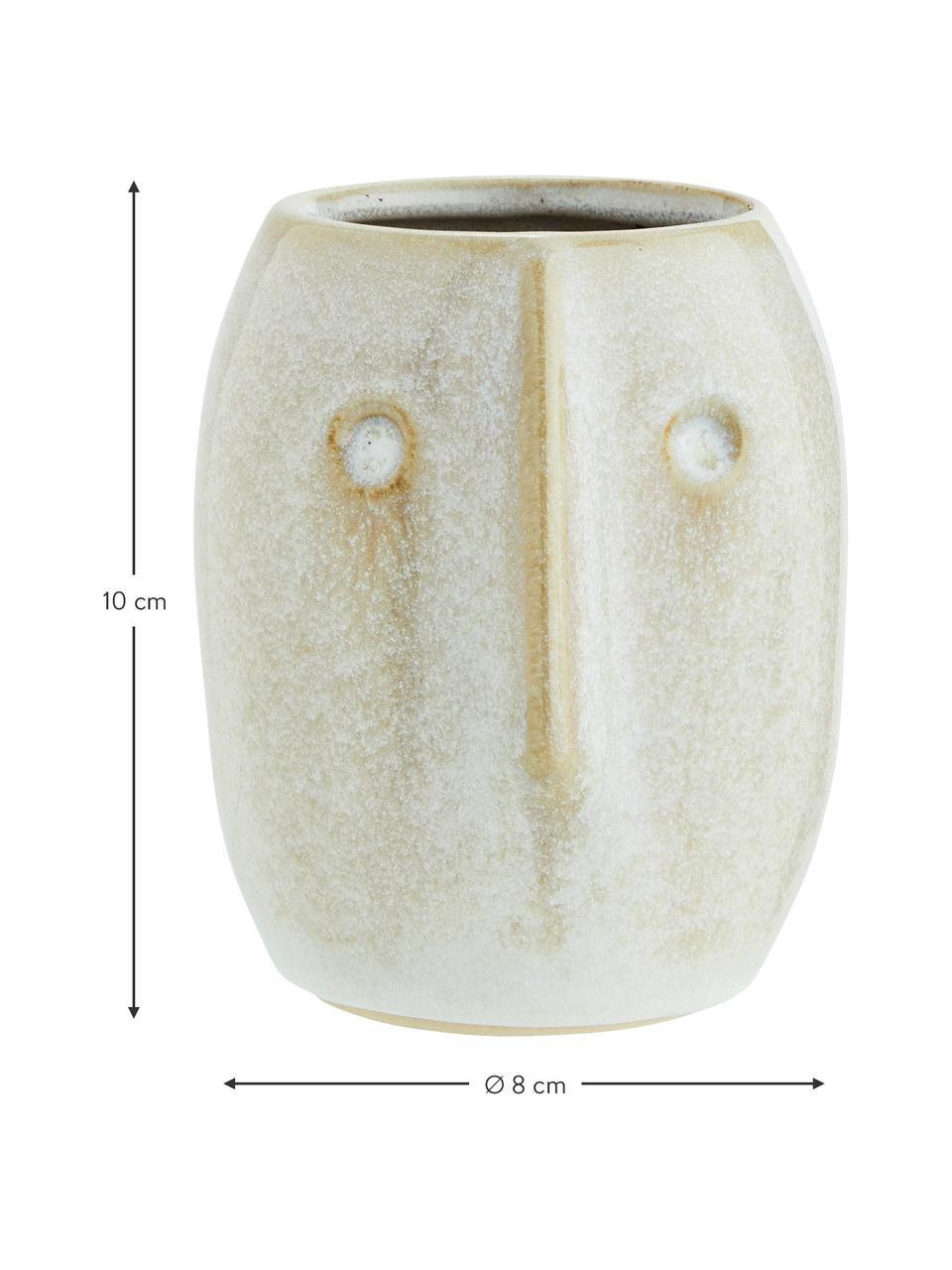Mała osłonka na doniczkę z kamionki Face, Kamionka, Biały, beżowy, Ø 8 x W 10 cm