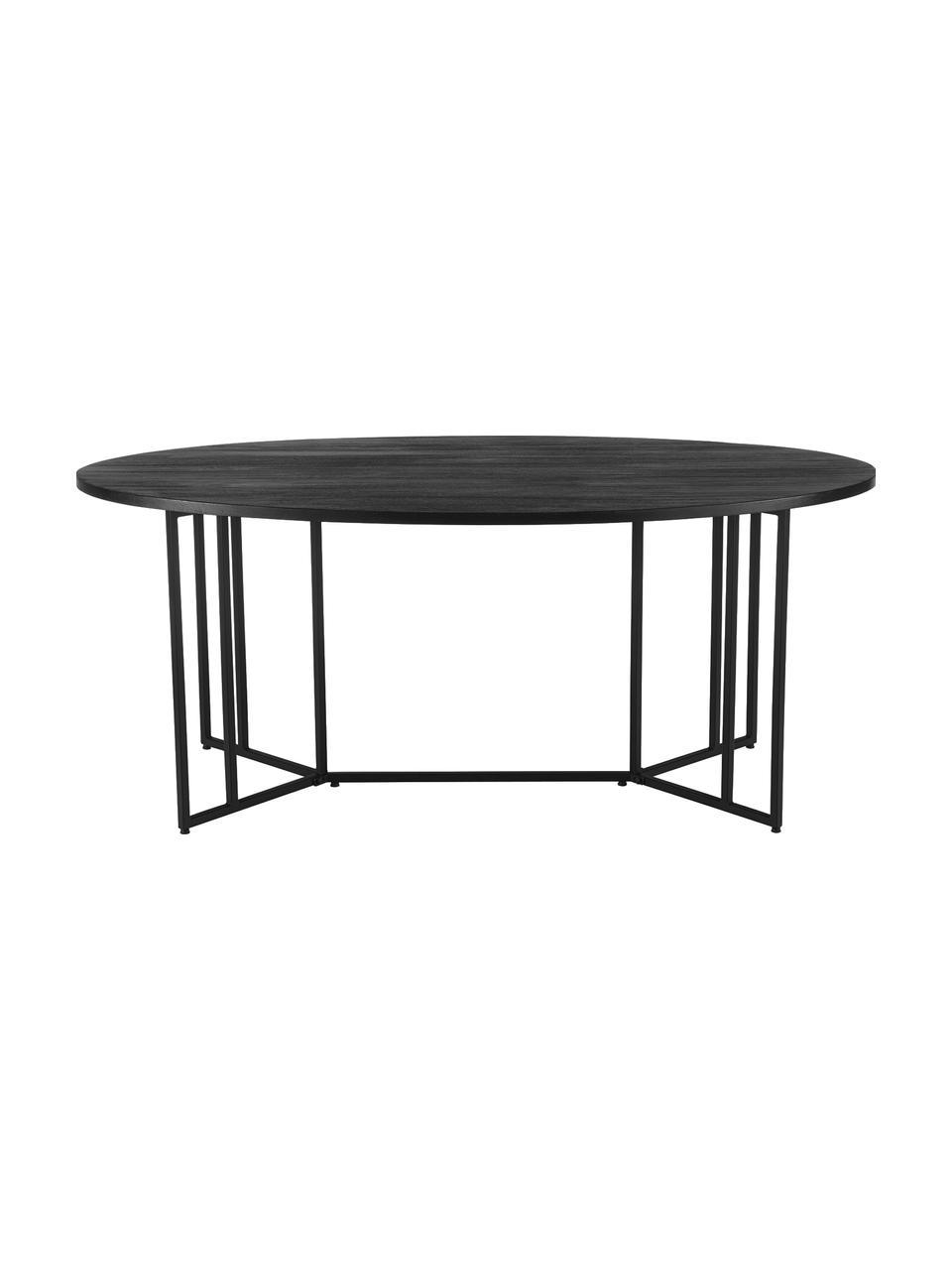 Ovaler Esstisch Luca mit Massivholzplatte, Tischplatte: Massives Mangoholz, gebür, Gestell: Metall, pulverbeschichtet, Schwarz, B 240 x T 100 cm