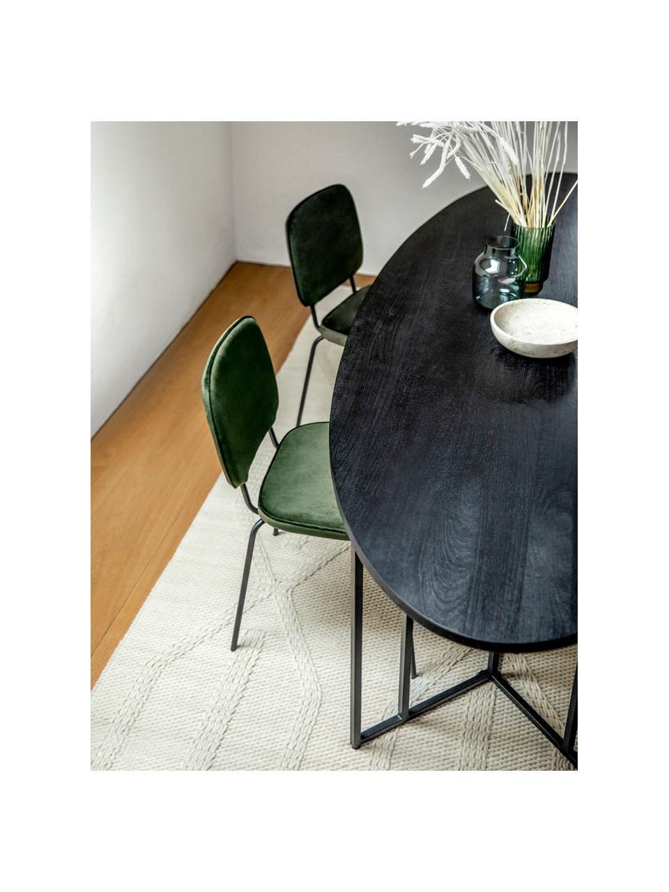 Ovale massief houten eettafel Luca in zwart, Tafelblad: massief mangohout, gebors, Frame: gepoedercoat metaal, Tafelblad: zwart gelakt mangohout. Frame: mat zwart, B 240 x D 100 cm