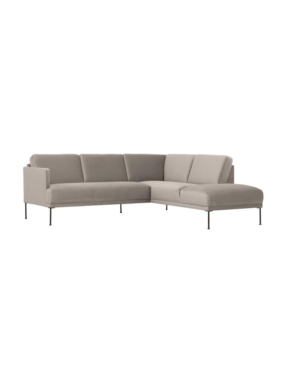Sofa narożna z aksamitu z metalowymi nogami Fluente, Tapicerka: aksamit (wysokiej jakości, Nogi: metal malowany proszkowo, Aksamitny beżowy, S 221 x G 200 cm