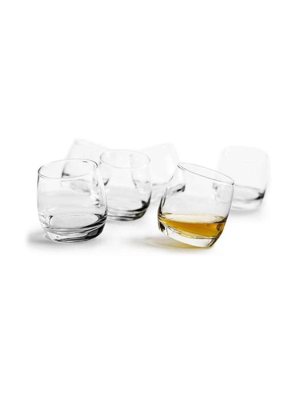 Whiskygläser Rocking mit rundem Boden, 6 Stück, Mundgeblasenes Glas, Transparent, Ø 7 x H 9 cm
