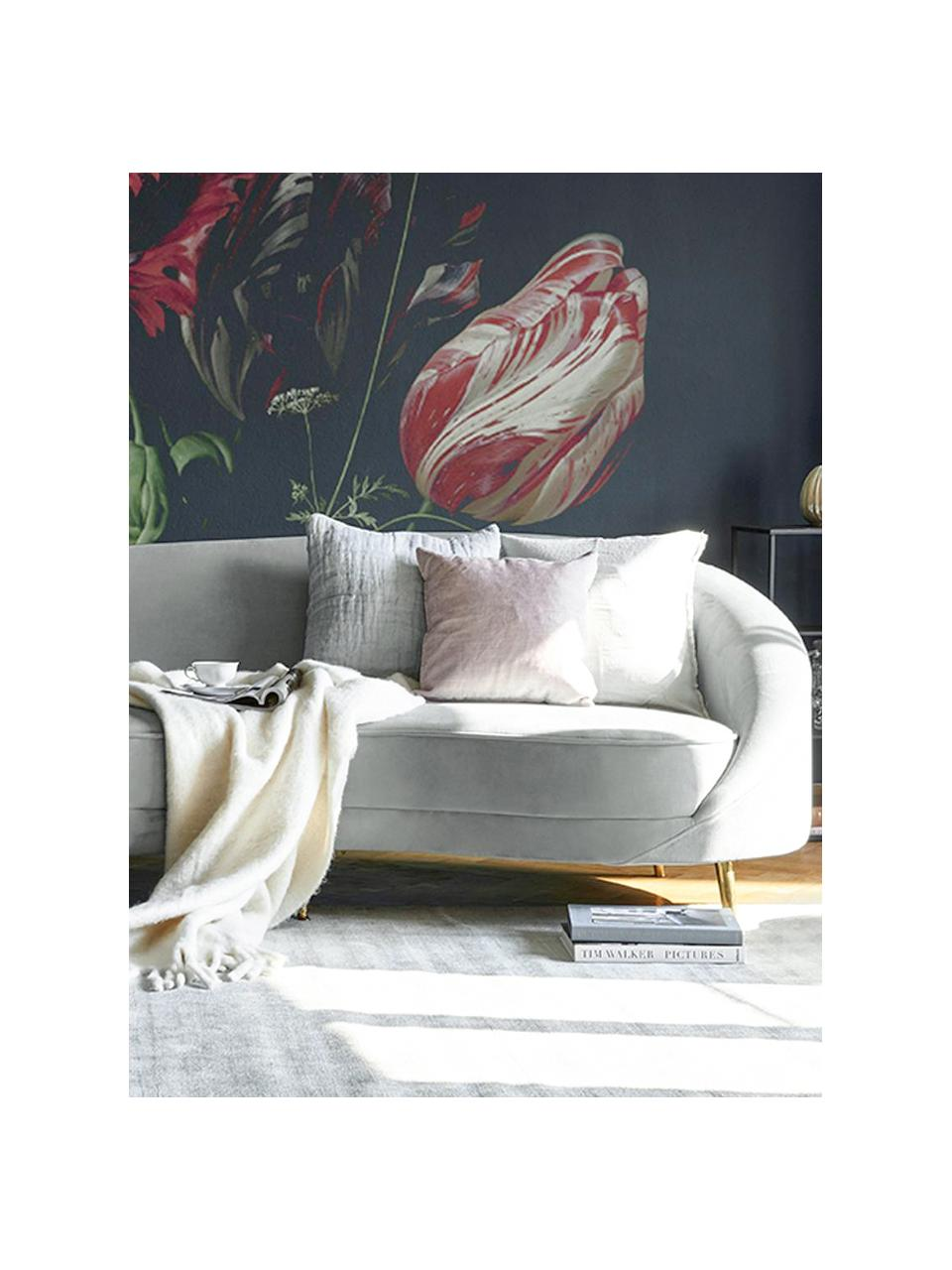 Samt-Nierensofa Gatsby (3-Sitzer) in Grau, Bezug: Samt (Polyester) 25.000 S, Gestell: Massives Eukalyptusholz, Füße: Metall, galvanisiert, Samt Grau, B 245 x T 102 cm