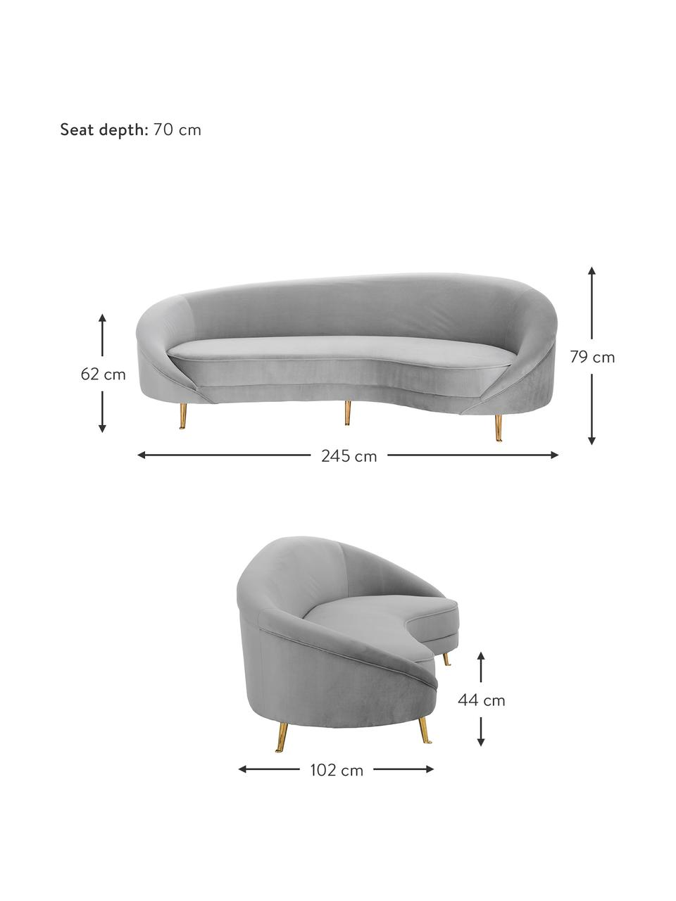 Divano 3 posti in velluto grigio Gatsby, Rivestimento: velluto (poliestere) 25.0, Struttura: legno di eucalipto massic, Piedini: metallo, zincato, Velluto grigio, Larg. 245 x Prof. 102 cm