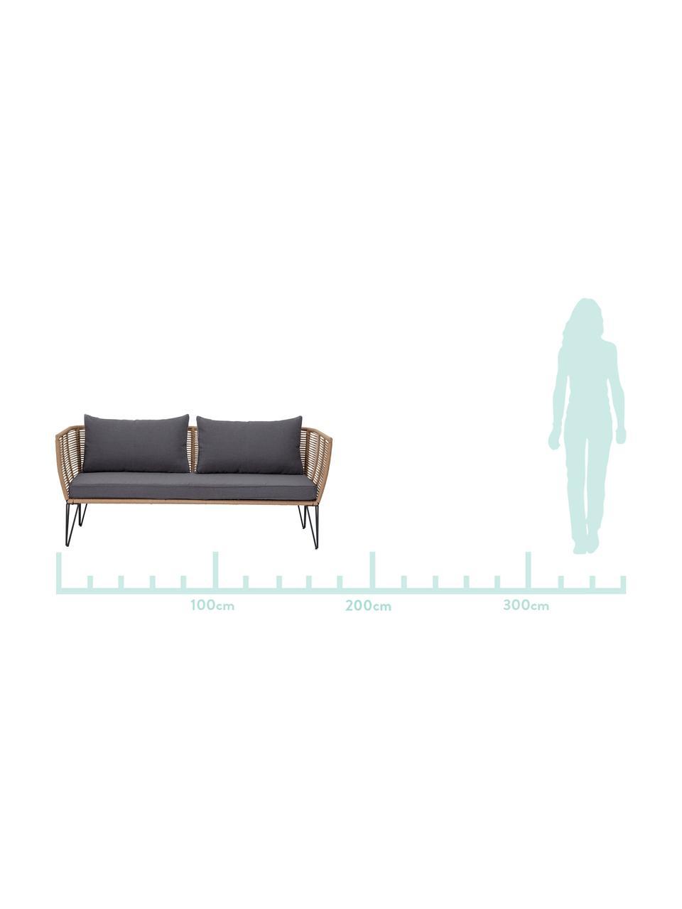 Tuin loungebank Mundo met kunststoffen vlechtwerk (2-zits), Frame: gepoedercoat metaal, Zitvlak: polyethyleen, Bekleding: polyester, Bruin, B 175  x D 74 cm
