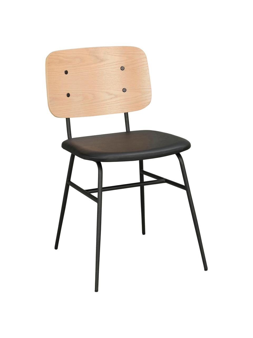 Sedia in legno Brent, Seduta: similpelle (poliuretano), Struttura: metallo verniciato, Legno di quercia, Larg. 47 x Prof. 57 cm
