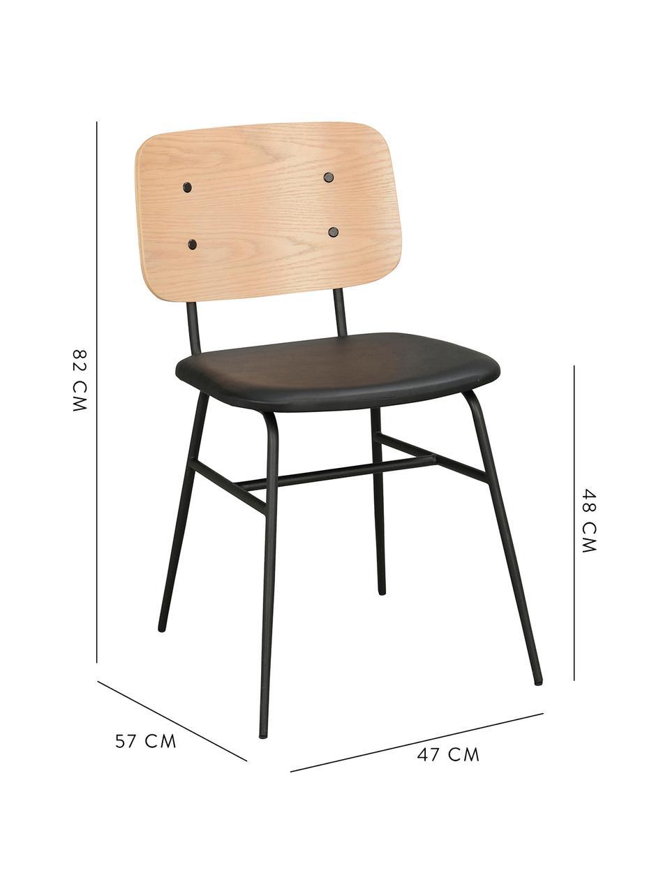 Holzstuhl Brent, Rückenlehne: Eichenfurniersperrholz, l, Sitzfläche: Kunstleder (Polyurethan), Gestell: Metall, lackiert, Eiche, B 47 x T 57 cm