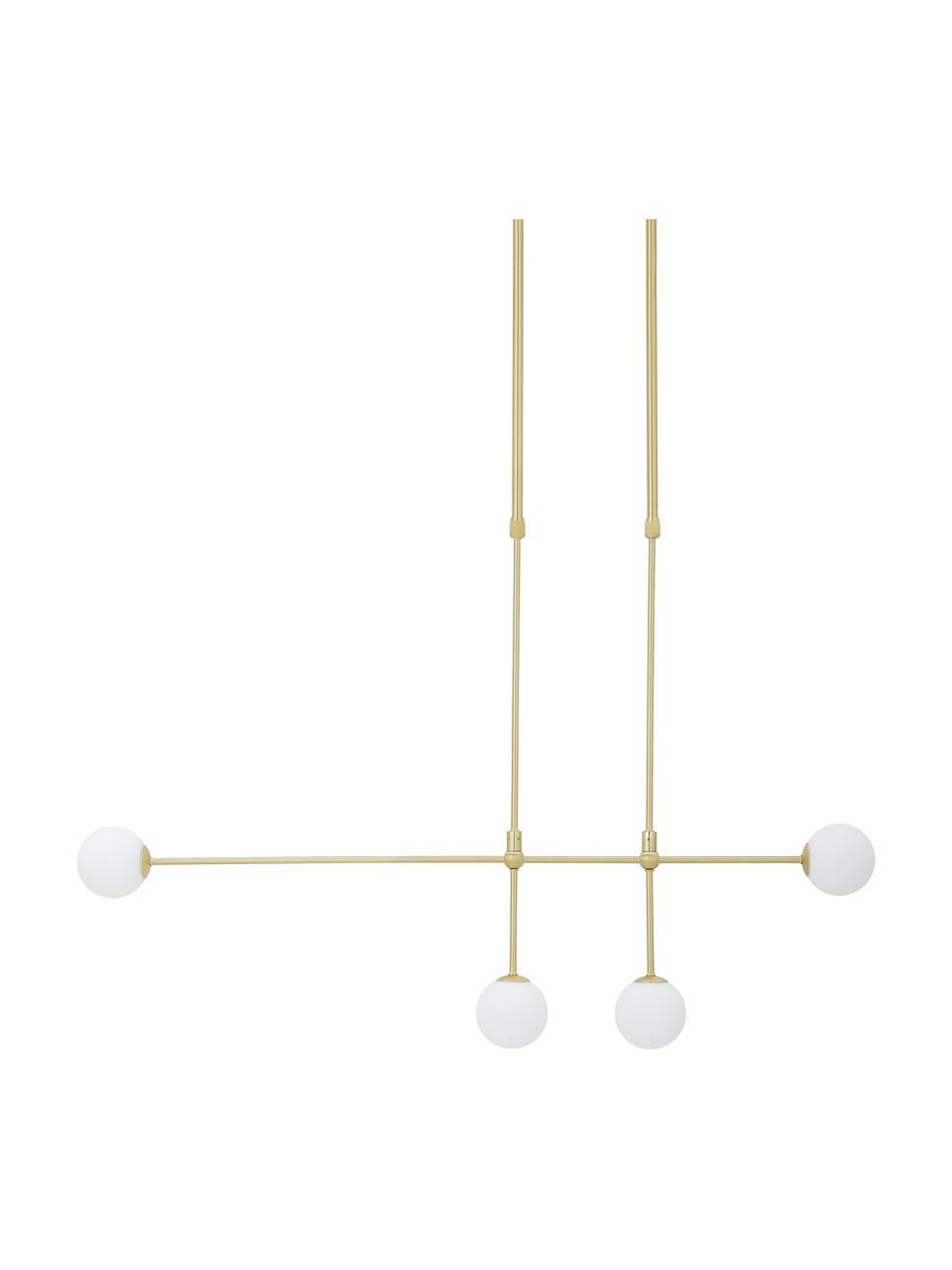 Duża lampa wisząca Moon, Osłona mocowania sufitowego i oprawa: mosiądz, szczotkowany Klosz: biały Kabel: , S 112 x W 90 cm