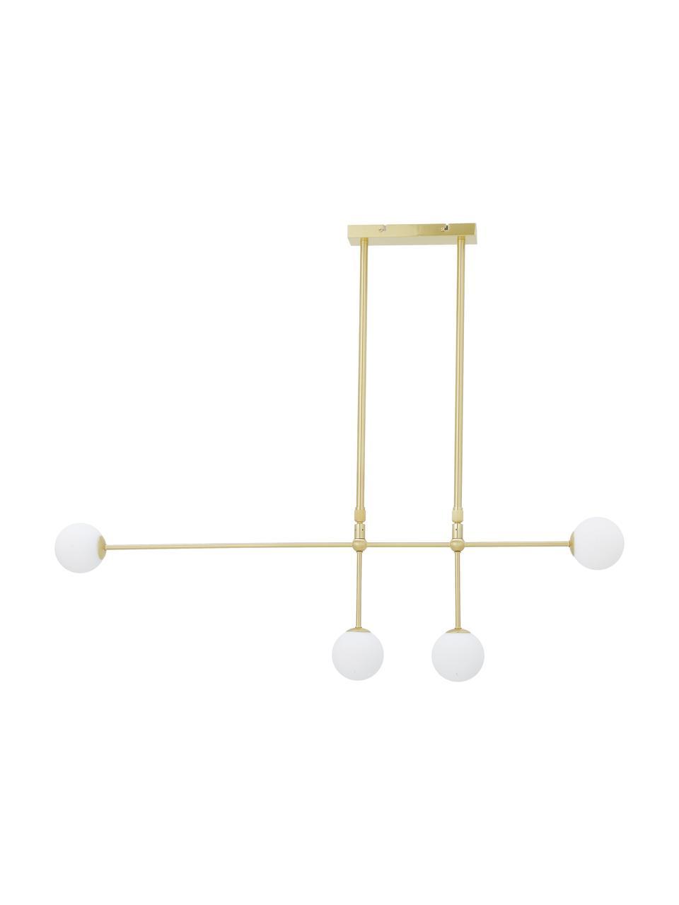 Lampa wisząca Moon, Osłona mocowania sufitowego i oprawa: mosiądz, szczotkowany Klosz: biały Kabel: , S 112 x W 90 cm