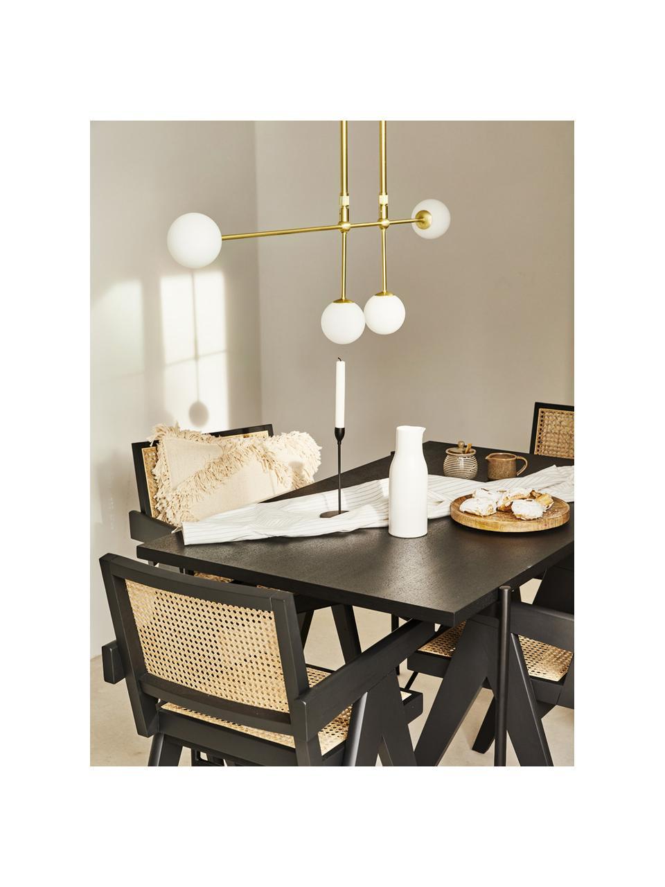 Grande suspension design métal doré Moon, Rosace et douille: laiton, brossé Abat-jour: blanc Câble: noir