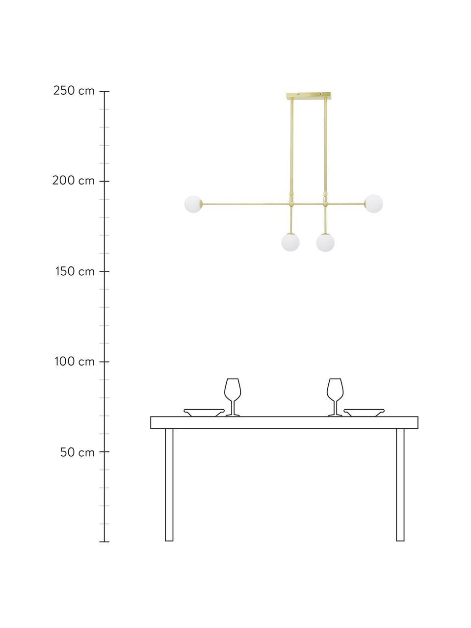 Grote design hanglamp Moon, Baldakijn en fitting: geborsteld messingkleurig. Lampenkappen: wit. Snoer: zwart, 112 x 90 cm