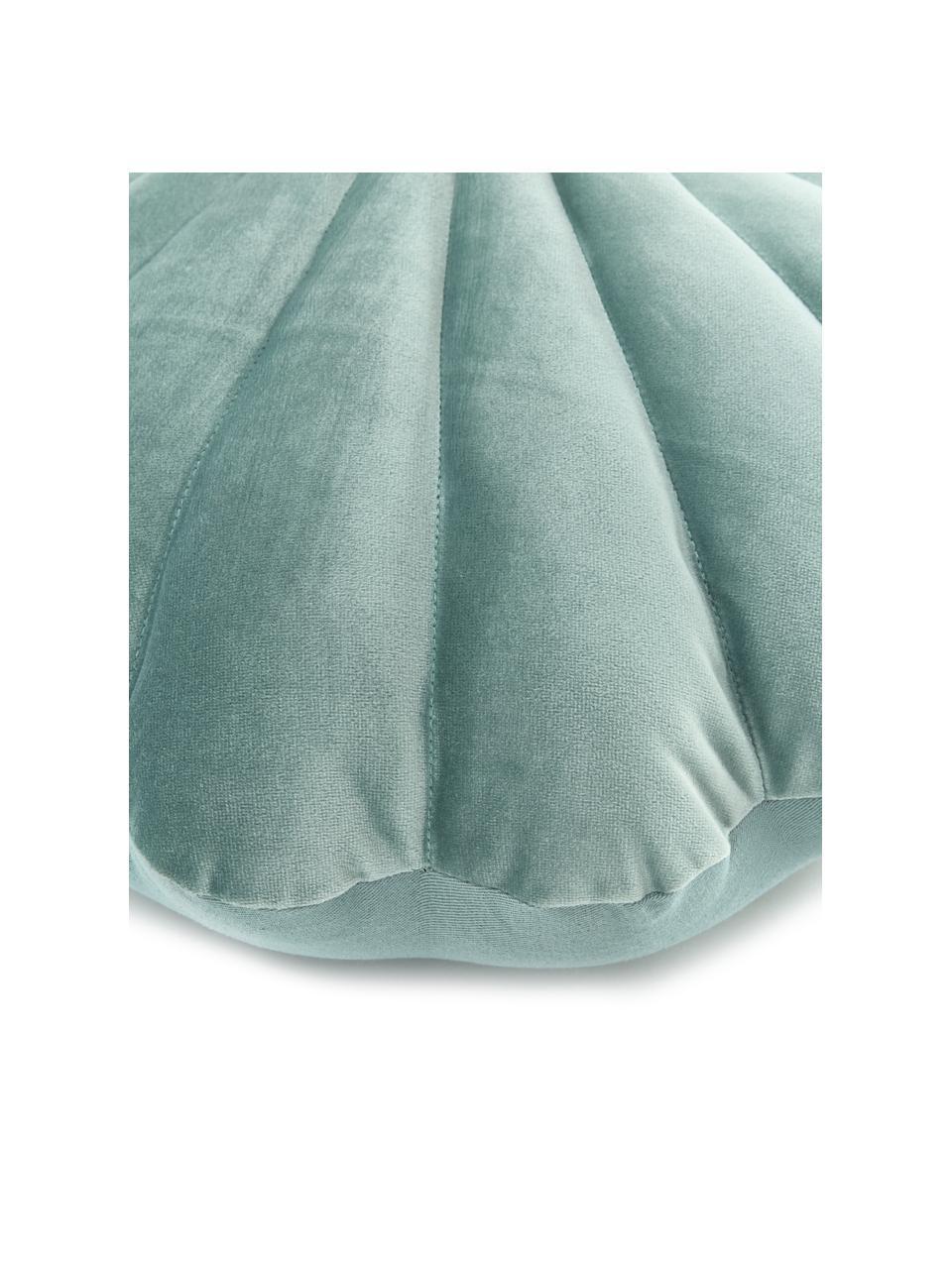 Samt-Kissen Shell in Muschelform, Vorderseite: 100% Polyestersamt, Rückseite: 100% Baumwolle, Grün, 30 x 28 cm