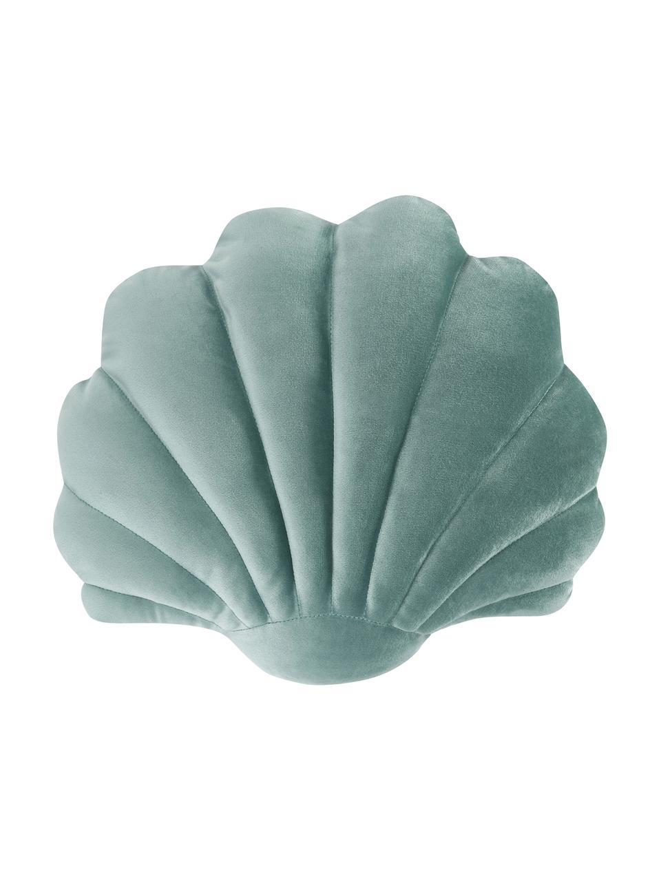 Poduszka z aksamitu Shell, Zielony, S 32 x D 27 cm