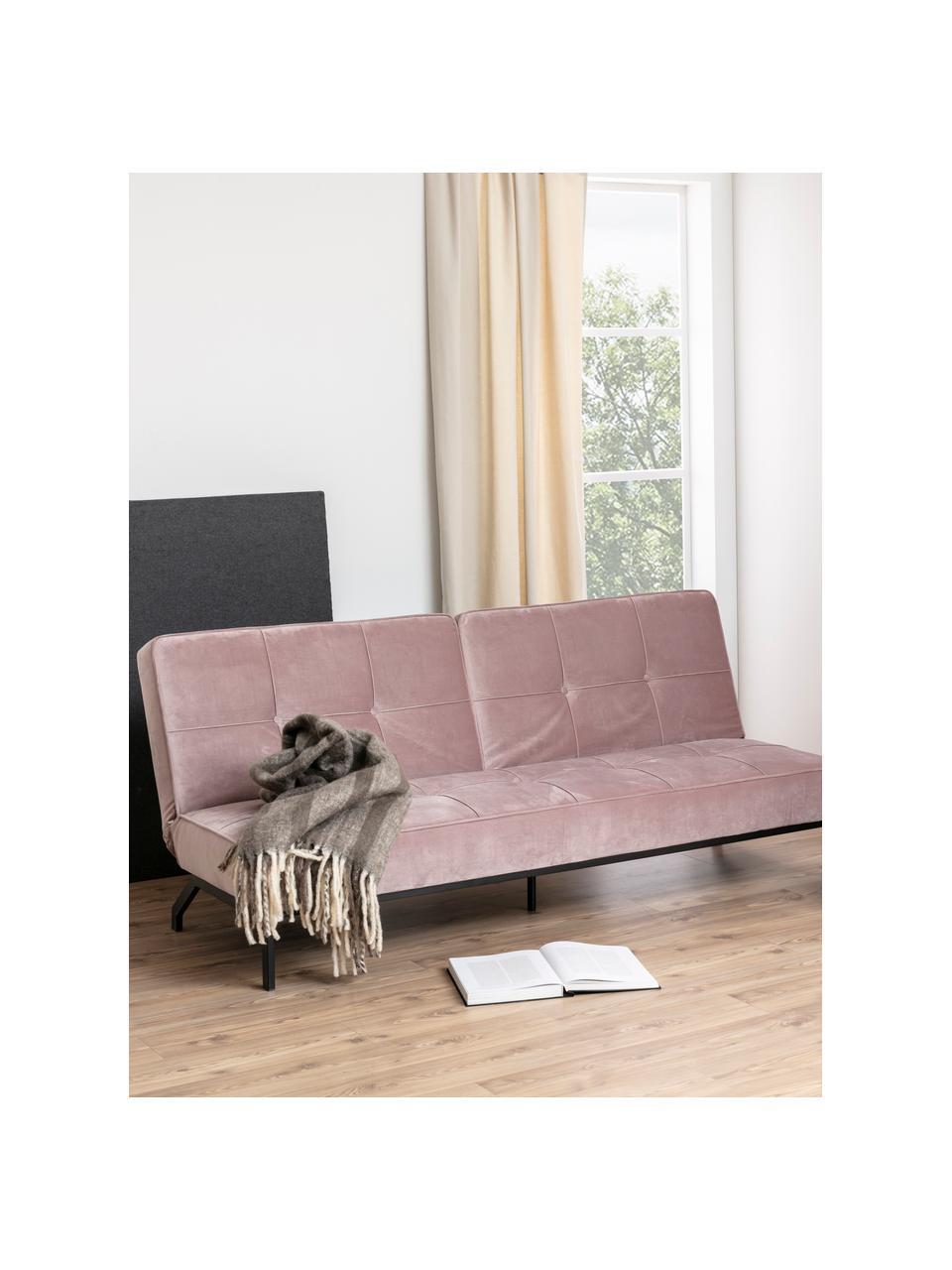 Samt-Schlafsofa Perugia in Rosa mit Metall-Füssen, ausklappbar, Bezug: Polyester Der hochwertige, Samt Rosa, B 198 x T 95 cm